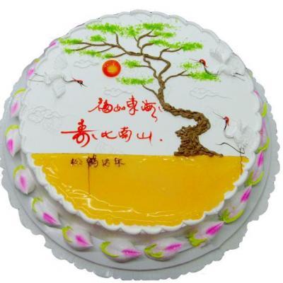 包 装:购买蛋糕附送贺卡,刀,叉,盘,蜡烛一套   祝 语:福如东海,寿比